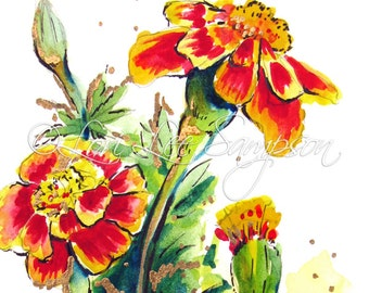 Marigolds Digital Download from Watercolor Painting, Art Print, Floral Illustration, Orange & Yellow, Garden Flowers, Garden Decor Art