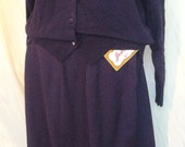 Vintage Never Worn Jantzen Wool Blend Pencil Skirt and Sweater Royal Blue/Purple Size 14