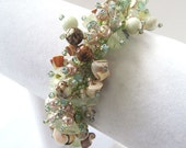 Beadwoven Caterpillar Bracelet Misty Green with Pearls and Shells