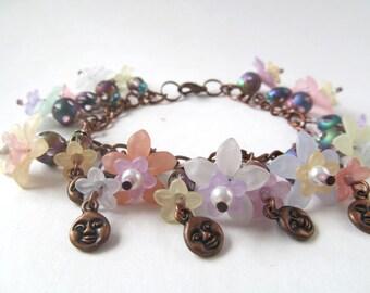 Moon Bracelet, Charm Bracelet, Pastel Flower Beads, Fantasy Jewelry, Glass Bead Bracelet, Earrings, Copper Bracelet, Cha Cha Bracelet, Set