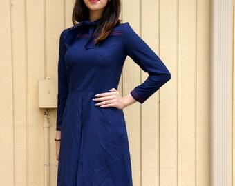 60s Navy blue secretary dress