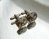 Steampunk Jewelry, Steampunk Mens small rectangular  Watch Cufflinks  Fathers Day Wedding Anniversary  Vintage upcycled mens Cuff Links