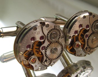 Steampunk Jewelry,Steampunk Men's round Watch Cufflinks  Fathers Day Wedding Anniversary Vintage upcycled mens Cuff Links