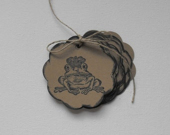 Frog Prince Tags Stamped by The Paper Peddler for gift wrap grab bags Party Favors adornments 12 pieces