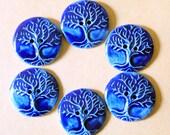6 Handmade Ceramic Buttons - Rich Blue Tree of Life Buttons - Stoneware Buttons - Knitting Supplies - Blue Buttons - Button Bracelet