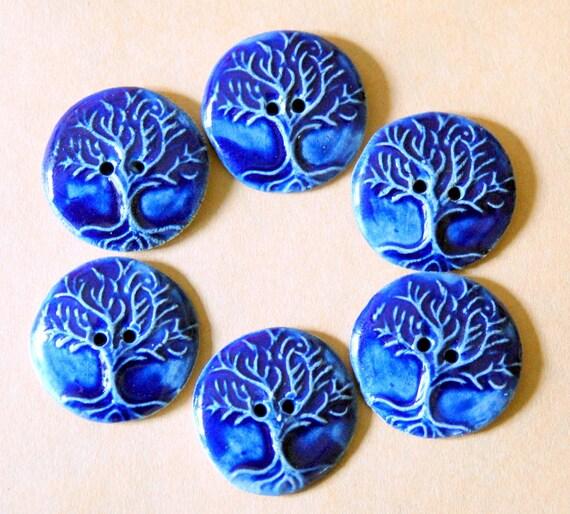 6 Handmade Ceramic Buttons
