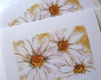 Smiley Face Daisy Note Cards Blank Original Art Smile