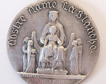 Antique French Art Medal on Fleur de Lis Ribbon Notre Dame la Blanche Madonna Angels Sterling Amouroedieu Signed LR Jedin