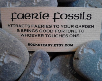 Faerie Fossils Fairy Footprint Stone For Fairy Houses HAND ENGRAVED