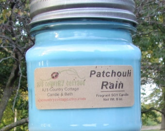 PATCHOULI RAIN SOY Candle - Highly Scented - Earthy Fresh Clean