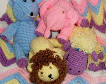 Crochet Pattern-Pastel Ripple Crib Blanket and Critters