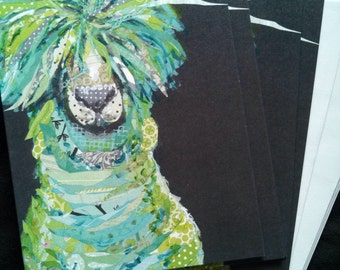 Save Your Drama For Your Llama Mama Notecard Set from Original Painting Collage