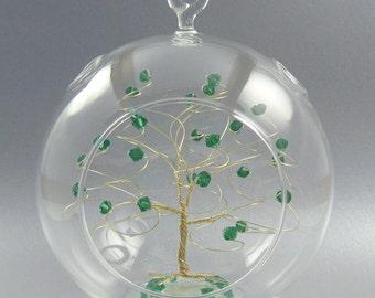 Christmas Ornament Emerald Green Swarovski Crystal Elements and Gold May Crystal Christmas Ornament