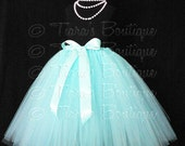 "Flower Girl Tutu, Wedding Tutu, Long Tutu Skirt, Girls Tutu, Baby Tutu, Toddler Tutu, Less Full Tutu, Aqua Tutu, Blue Tutu, Up to 20"" Tutu"