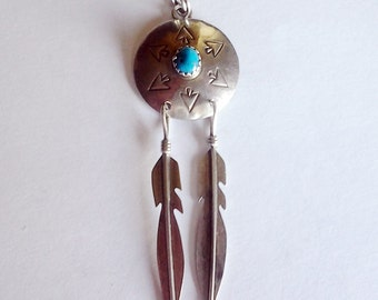 Big Vintage Navajo sterling and turquoise pendant Feathers Long over 2 inches 925 Southwestern