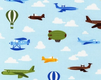 Out N' About,  Planes and Balloons in  Sky by Caleb Gray from Robert Kaufman, 1 yard