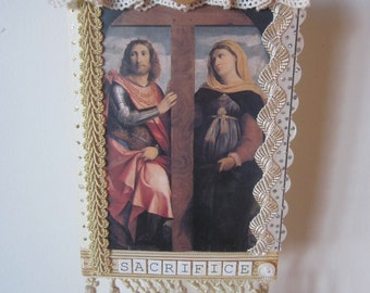 Religious, spiritual, collage, mixed media, icon, one of a kind, original, vintage, sheet music