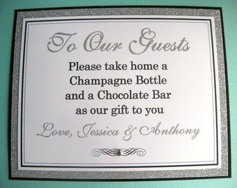 8x10 Flat Custom Printed Paper Wedding Sign - Any Colors or Message - Perfect for Guest Book, Favor Table, Photo Booth or Open Bar