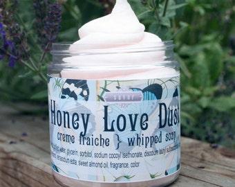 Whipped Soap Honey Love Dust Creme Fraiche Vegan 8 oz Cream Soap