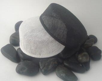 "Hat Form LISA -1.5"" x 4"", small round pillbox shaped buckram, RTS in black"