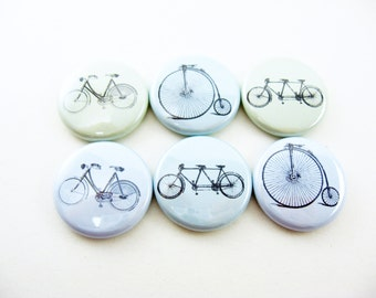 Six Bicycles Built for One or Two - fridge magnets, pins or wine charms - kitchen decor, cute fridge magnet, refrigerator magnets, 1119A