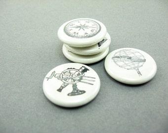 5 Fridge Magnets, Fridge Magnet Set, Vintage Travel, Navigation, Nautical Decor, Compass, World Globe, Telescope - wine charms, pins 1244