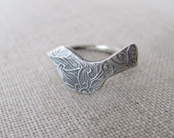 sterling silver modern bird ring floral pattern oxidized patina