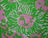 """Lilly Pulitzer 2014~CABANA PINK  """"SUNNYSIDE """"  Cotton Poplin fabric  18 inch by 18 inch"""