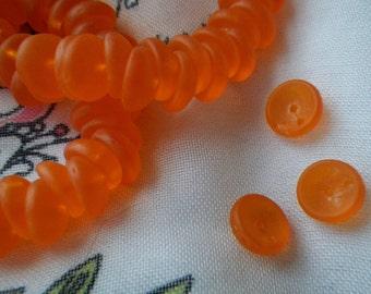 Matte Neon Orange Concave 8mm Two Hole Piggy Beads 50 Pcs