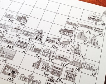 AMERICAN HOMETABLE Architectural Map-Drawing (16x20 Art Print)