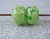 Earring Pair - Lampwork Beads - Lovely Lime Green
