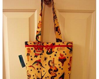 SMALL TOTE BAG Traditional Tattoo Flash Tan Purse Handbag