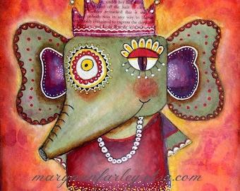 Elephant Art Print, Whimsical Art, Animal Jungle Print, Indian Art, 8 x 10 and 5 x 6.5, Watercolor Mixed Media, Green Purple Orange