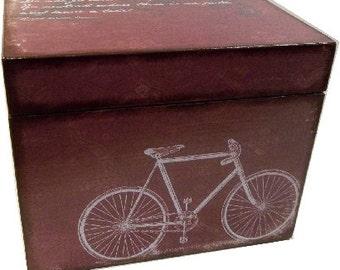 Recipe Box,Tab Dividers SET Decoupage Handcrafted Recipe Box, Large, Bike Decor, Kitchen Organizer, Recipe Holder, Storage, MADE To ORDER