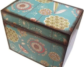 Recipe Box, Wedding Guest Book Box, Holds 4x6 Cards, Bridal Shower Gift, Storage and Organization, Large Box, Mod Teal Box, MADE TO ORDER