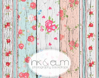 "INK & ELM ORIGINAL 6ft x 4ft, Vinyl Shabby Chic Floral Wood Plank Backdrop, Old Floral Wood, Newborn Prop  ""Shabby Chic Wood Planks"""