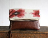 LAST IN STOCK///// The Belinda Pouch ///// Ikat Pouch. Salmon Pink Pouch. Brown Leather Pouch. Aztec Clutch.