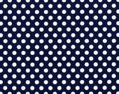 Kiss Dot Navy Polka Dots Michael Miller Fabrics, 1/2 Yard