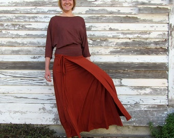 ORGANIC Wanderer Wrap Long Skirt ( light hemp and organic cotton knit ) - organic wrap skirt