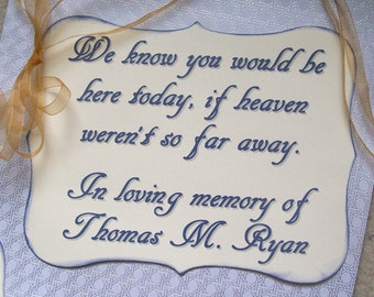Memorial Chair Sign - Rememberence - Honoring Loved Ones - In Loving Memory - Family - Relatives - Reserved Seating