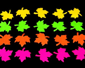 20 tiny Maple Leaf Die Cuts in 4 Neon Colors