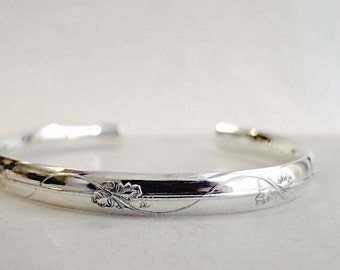 Sterling Silver Cuff bracelet, Vine and Leaf, Nature inspired jewelry