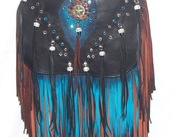 "Leather Designer Handbag Studded Crystal Fringed Purse with Bling Extra Long Fringe Bag  ""ARIZONA BUTTERFLY"" handmade by Debbie Leather"