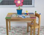 "Splat Mat/Tablecloth ""Rose Vine"" - Laminated Cotton BPA  & PVC Free - Choose Your Size below!"