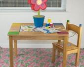 "Splat Mat/Tablecloth ""Tea Rose"" - Laminated Cotton BPA  & PVC Free - Choose Your Size below!"