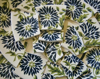 Mosaic Tiles--Navy Blue Flowers-12 Large Vintage Tiles
