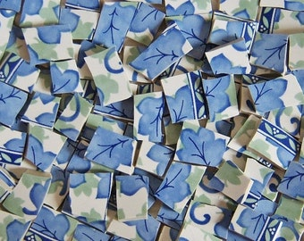 Mosaic Tiles--Blue Leaves--100 Tiles