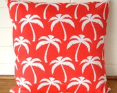 Red and White Tropical Palm Trees Outdoor Cushion