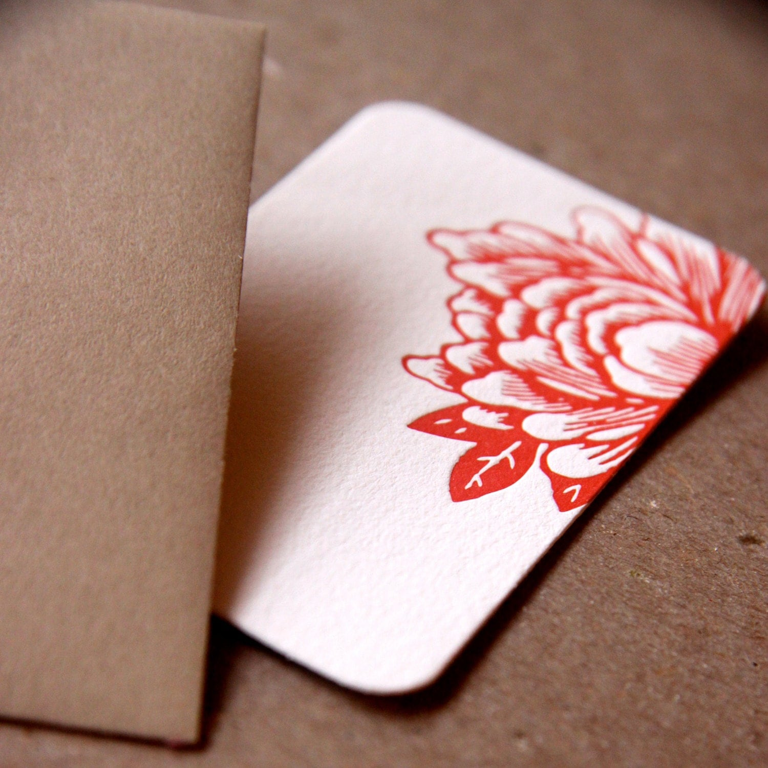 Scarlet Red Blossoming Flower Letterpress Mini Notes, Gift Notes ...