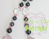 SALE Light Pink and Gray Pearl Chunky Necklace with Rose Accents and Ribbon Tie Closure